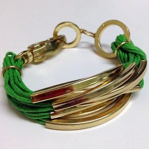 Chunky green and gold bracelet large statement
